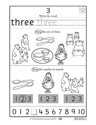 kindergarten preschool math worksheets learning 3 part 2