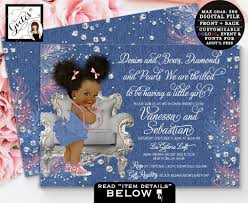 diamonds and pearls baby shower denim and diamonds baby shower invitation denim bows ribbons and