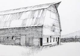 drawn barn point perspective pencil and in color drawn barn