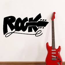 online get cheap rock guitar wall sticker aliexpress com hot sale modern music studio wall decal quote rock sign electric guitar wall stickers for kids