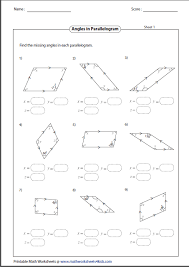 properties of parallelograms worksheet quadrilateral worksheets