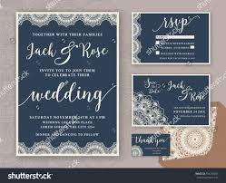Invitation Card With Rsvp Rustic Wedding Invitation Design Template Include Stock Vector