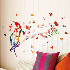 compare prices on music notes wall art online shopping buy low diy feather musical note bedroom vinyl art decal wall stickers 50x70cm home decor creative sofa background