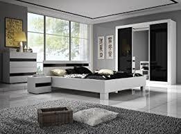 chambre laqué blanc brillant chambre à coucher complète lucca design laqué brillant noir et blanc