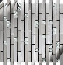 Stainless Steel Mosaic Tile Backsplash by Silver Linear Glass Diamond Stainless Steel 3d Polished Mosaic