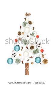 tree made new years decorations acorns stock photo
