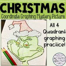 christmas math coordinate plane graphing ordered pairs mystery picture