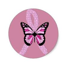breast cancer ribbon butterfly stickers zazzle