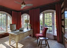 Home Office Curtains Ideas Leopard Rug In Home Office Eclectic With Dark Ceiling Next To