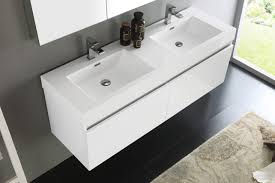 60 Inch Bathroom Vanity Double Sink Fresca Mezzo 60 Inch White Wall Mounted Double Sink Bathroom Vanity