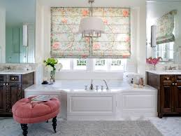 bathroom floral roman shade tile two sinks white floor tile
