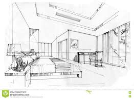 Sketch Interior Design Sketch Interior Perspective Living Room Black And White Interior