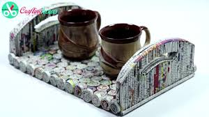 best out of waste ideas how to make serving tray with newspaper