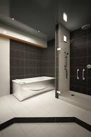 bathroom black ceramics contemporary bathroom combined with black ceramics contemporary bathroom combined with stainless circle shower hook and modern white bath tub also white ceramics floor