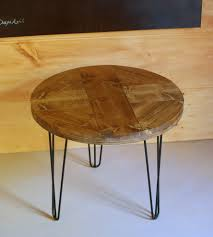 reclaimed wood round pattern end table with hairpin legs wood