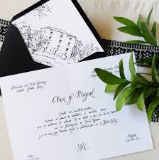 a illos de boda invitación de boda clásica en blanco y negro con caligrafía