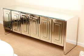 classic mirrored buffet table with birch wooden material and 4