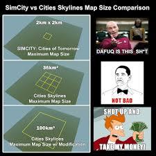 Simcity Meme - steam community map size comparison from reddit