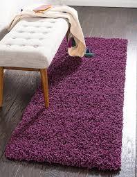 Purple Runner Rugs Eggplant Purple 2 6 X 13 Solid Shag Runner Rug Area Rugs