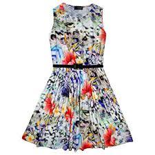 girls skater dress kids multi floral print summer party dresses
