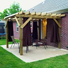 simple but elegant wooden pergola with canopy top wooden rods