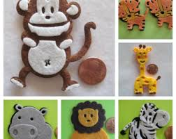 hippo felt animal ornaments for zoo forest safari jungle