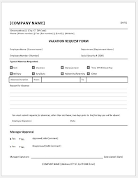 employee vacation request forms for ms word word u0026 excel templates
