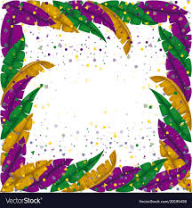 mardi gras picture frame mardi gras frame with feathers and colorful vector image