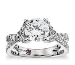 twist engagement ring lhuillier twist cathedral diamond engagement ring in