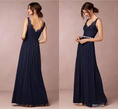 dark navy straps v neck a line chiffon long bridesmaid dresses
