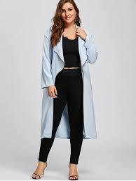 plus size light jacket plus size longline waterfall trench coat light blue plus size