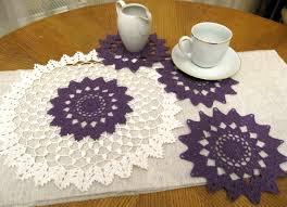 crochet purple doily set of 4 pcs crochet small doily table