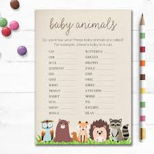 Baby Shower Game Baby Animals Names