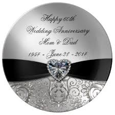 60th anniversary plates personalised diamond 60th anniversary plate zazzle co uk