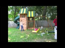 eastern jungle gym wooden swing set installation youtube