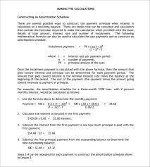 amortization schedule template u2013 7 free sample example format