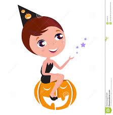 cute halloween witch sitting on pumpkin head royalty free