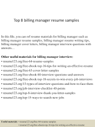 Sample Resume Objectives For Billing by Top8billingmanagerresumesamples 150402094003 Conversion Gate01 Thumbnail 4 Jpg Cb U003d1427985648