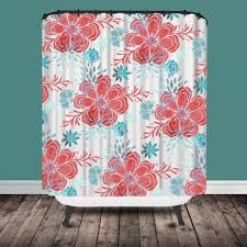 Pink And Teal Curtains Decorating Coral And Teal Shower Curtain Shower Ideas