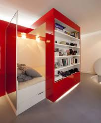 Bookshelf In Bedroom Nice Hidden Bedroom Deisgn Behind Red Bookshelf Dweef Com