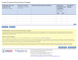 project evaluation plan summary template project starter u2014 usaid