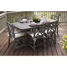 Plastic Patio Table Polywood Chippendale Slate Grey 7 Piece Plastic Patio Dining Set