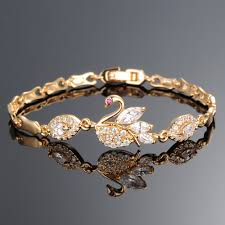 ladies bracelet design images 2015 latest ladies cute swan design 18k solid gold bracelet buy jpg