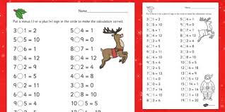 christmas addition and subtraction activity sheet christmas