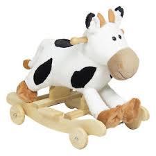 Toy Chair Kids Ride On Plush Cow Animal Rocker Wheels Children Toy Rocking