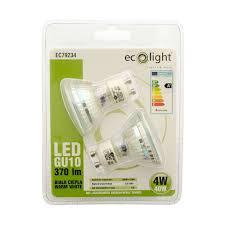 ecolight gu10 led spot light bulb 4w 40w equivalent non dimmable