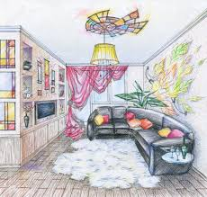hand drawn sketch of interior of living room with black sofa