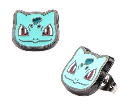 amazon com pokemon character stud earrings bulbasaur face jewelry