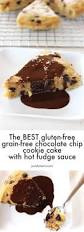 plantain chocolate chip cookie cake with fudge sauce