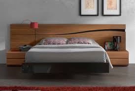 bed design with side table black floating acrylic bed frame with brown wooden headboard and